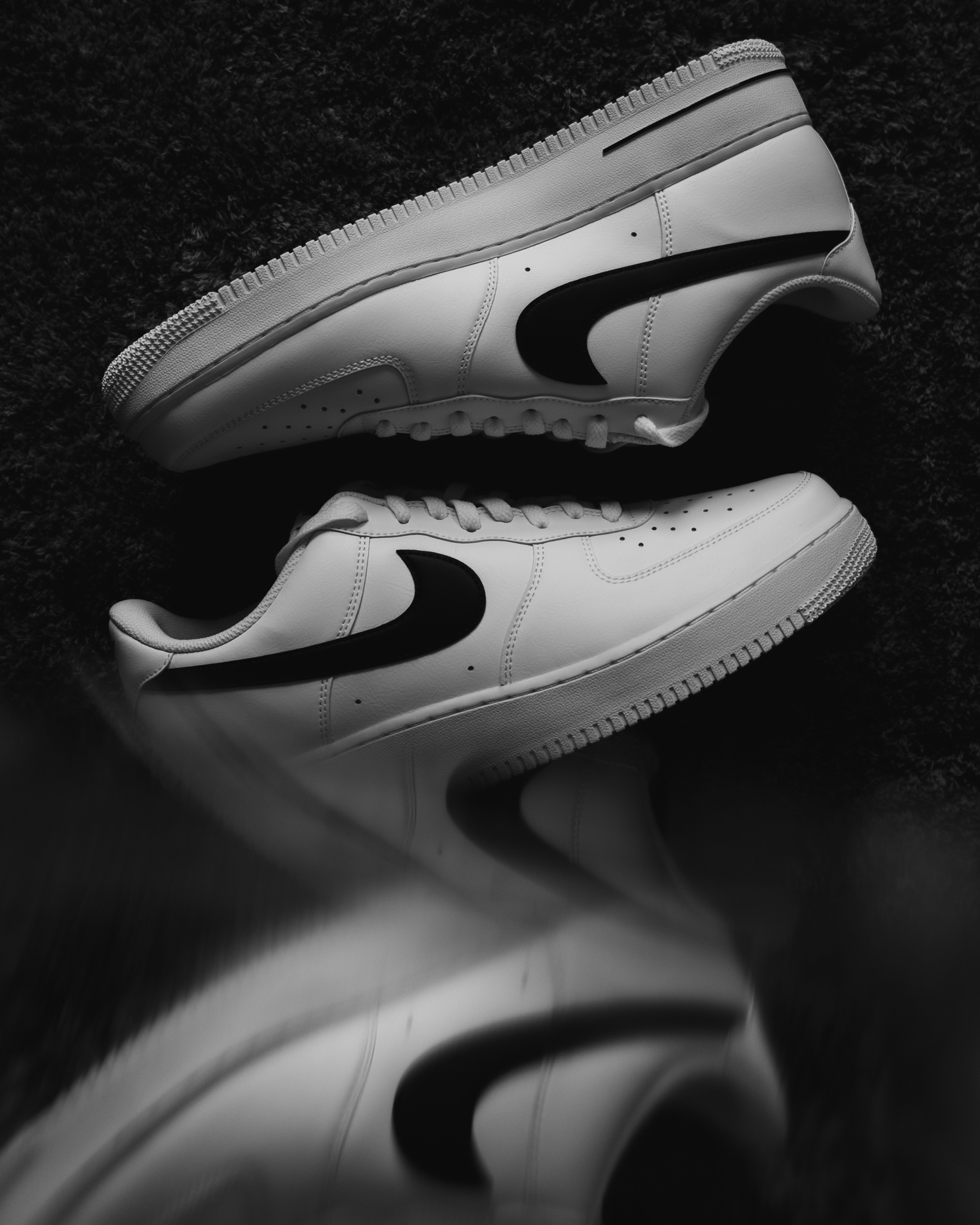 Nike Air Force One Black Swoosh